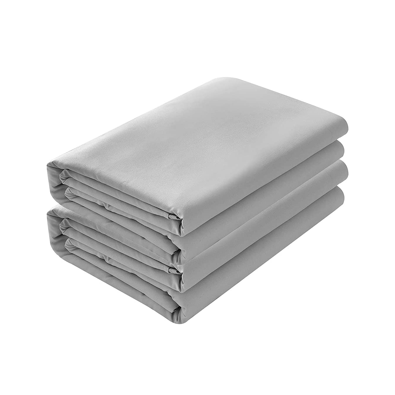 BASIC CHOICE 2-Pack Flat Sheets, Breathable 2000 Series Bed Top Sheet, Wrinkle, Fade Resistant - Queen, Gray