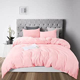Long Lion Duvet Cover Queen, 100% Washed Cotton, 3 Piece Bedding Duvet Cover Set, Ultra Soft and Easy Care, Solid Color Soft Breathable with Zipper Closure & Corner Ties Comforter Cover (Pink, Queen)