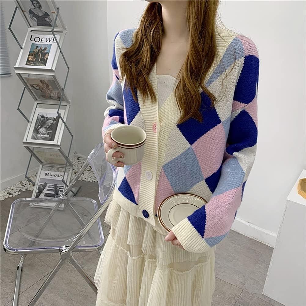 SLSFJLKJ Plaid Knitted Women Denver Mall Cardigan V-Neck Full Sleeve Sweater New arrival