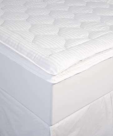 Perfect Fit Luxury Stripe Mattress Enhancer, Queen, White