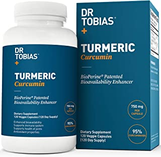 Dr Tobias Turmeric Curcumin - with Bioperine (Black Pepper) - 1500mg per 2 Capsules - Color of Capsules May Vary (120 Capsules)