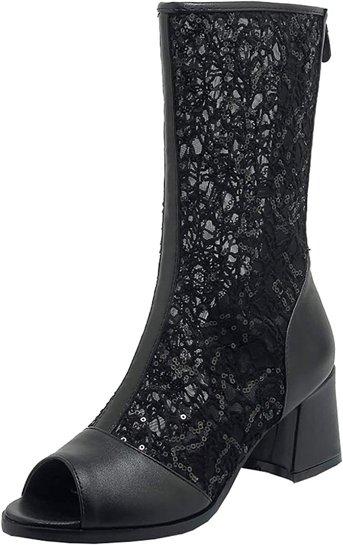 Artfaerie Womens Mid Block Heel Peep Toe Pumps Mesh Court shoes Black Mid Calf Boots