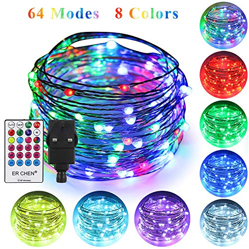 ErChen 64 Modes 7 Colors + Multicolor LED String Lights, Plug in RF Remote 33 FT 100 Upgraded RGB LEDs Color Changing Silver Copper Wire Fairy Lights with Timer for Indoor Outdoor Christmas