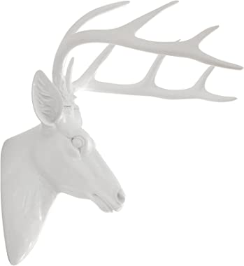 Pine Ridge Large Wall Hanging Faux Taxidermy Decor White Deer Antler Sculpture. Modern Art Animal Decoration Mounted Stag Head Mount with Antlers