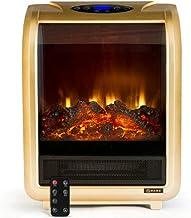 NFJ Chimenea Eléctrica Radiador LED Bajo Consumo Calefactor Eléctrico Calentador Eléctrico De La Estufa - Termostato Ajustable Y Protección contra Sobrecalentamiento,Gold