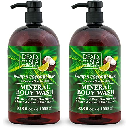 Dead Sea Collection Mineral Body Wash with Hemp & Coconut Lime Cleanses and Refreshes 67.6 fl.oz Pack of 2