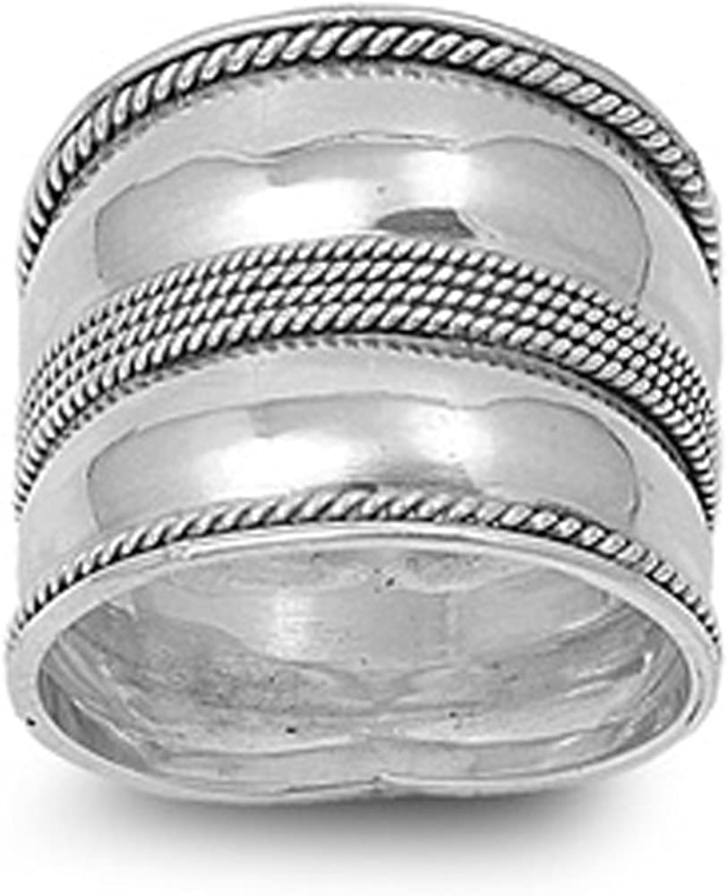 Sterling Silver Women's Bali 70% OFF Outlet Rope Ring Milgrain Wide Band Fa 925 Very popular