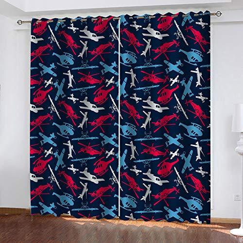 WLHRJ Cortina Opaca en Cocina el Salon dormitorios habitación Infantil 3D Impresión Digital Ojales Cortinas termica - 234x183 cm - Impresión de avión de Dibujos Animados