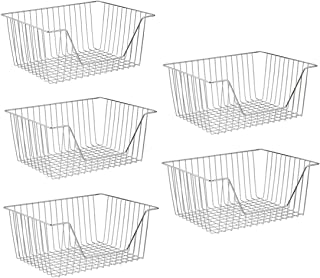 SANNO Metal Wire Open Front Organizer Basket for Kitchen Pantry, Cabinet, Wire Bakets Shelf - Holds Canned Goods, Baking S...