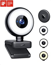 1080P Webcam with Ring Light, WEMISS Autofocus Streaming Webcam, Web Camera with Adjustable Brightness, Privacy Cover, Mic...