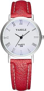 YAZOLE Couple Quartz Watch for Men Women Elegant Wristwatch with Roman Numbers Pointer Blue Light Blocking Mineral Glass 3...
