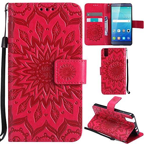 Ooboom® Huawei ShotX Hülle Sonnenblume Muster Flip PU Leder Schutzhülle Handy Tasche Hülle Cover Stand mit Kartenfach für Huawei ShotX - Rot