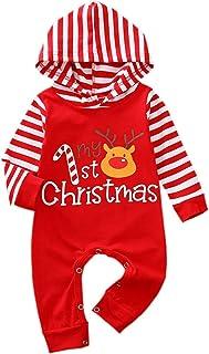 بنين بنات بنات عيد الميلاد حللا الرضع مقنعين الرقبة شريط طويل الأكمام رومبير الملابس (Color : A, Size : 3M)