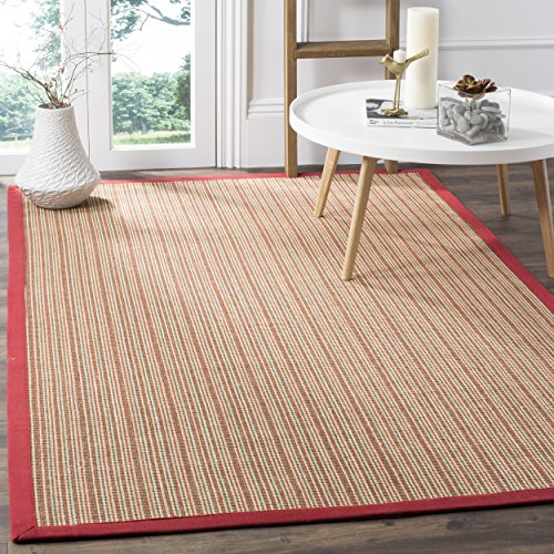 "Safavieh Natural Fiber Collection NF442B Martinique Stripe Rust Sisal Area Rug (5' x 7'6"") -  NF442B-58"
