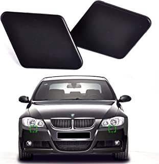 beler 2pcs Font Bumper Headlight Washer Nozzle Jet Covers Caps for BMW 3 Series E90 2005-2009