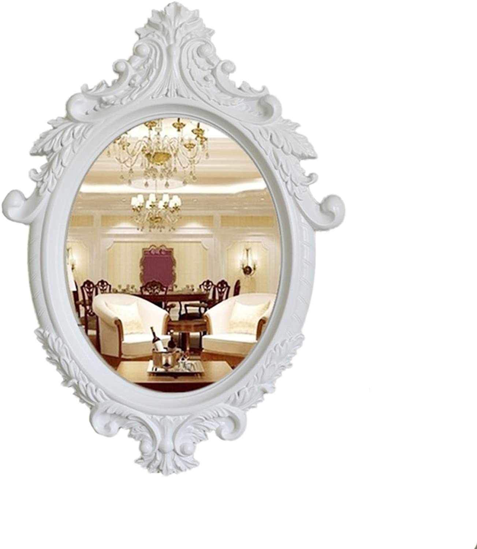 CSQ Retro Mirror, Multifunction Creative Bathroom White Decoration Wall Mount Makeup Mirror Beauty Salon Mirror Makeup and Mirror (color   B, Size   46  64CM)