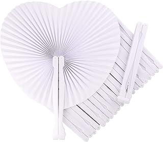 FEPITO Fans de papel de bolsillo de 60 piezas plegables en forma de corazón con abanico manual para bodas Decoración de fiesta de cumpleaños Birthday Blanco)