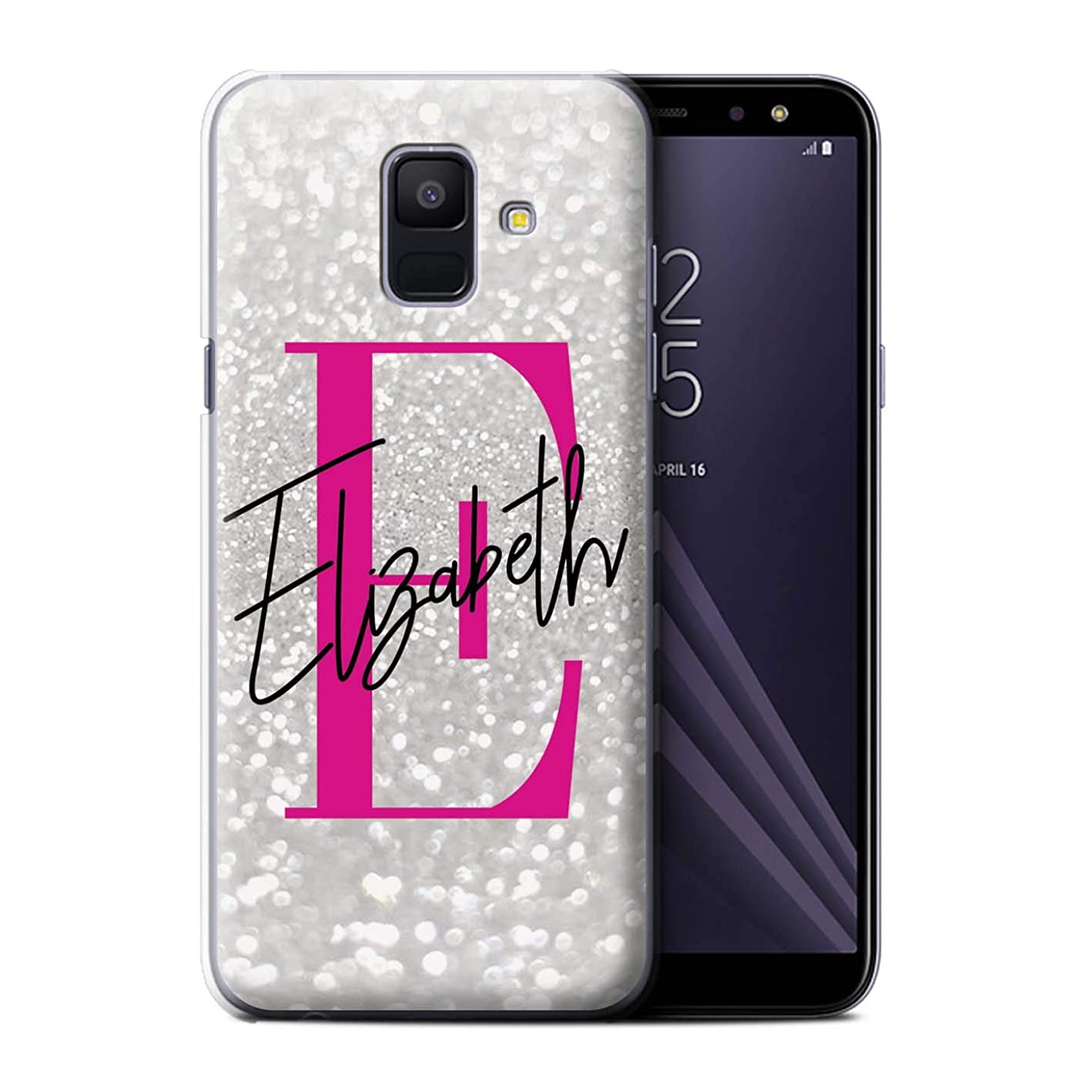 Personalized Custom Faded Look Glitter Effect Case for Samsung Galaxy A6 (2018) / Sassy Hot Pink Initial Design/Initial/Name/Text DIY Cover