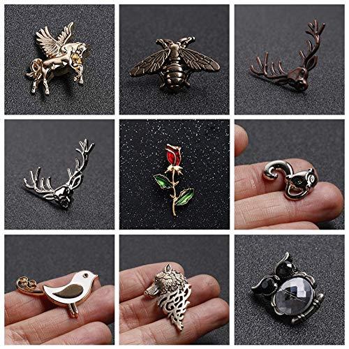 JINSUO GWTRY Serie de Insectos Abeja/Flor Bird/Ciervos Esmalte Broche/Collar Aguja Hombres y Eomen Cuello de la Camisa Clip Pin Ropa Decoración (Color : Style 17)