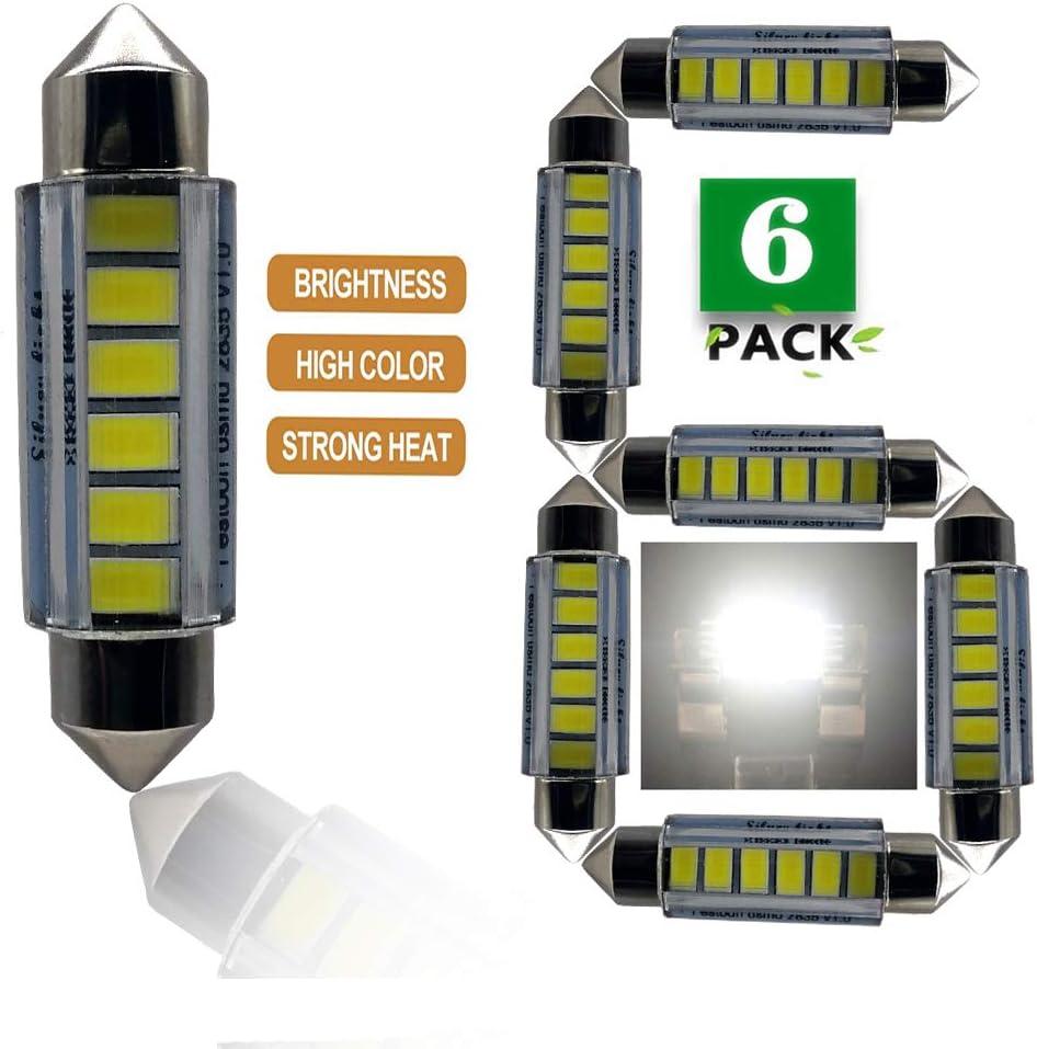 6SMD Interior/&LED License Plate Lights Bulbs,Festoon for Car interior Dome//Map//Trunk//License plate light 6-Pack C5W 6413 6418 6411 1.50 37mm 38mm 39mm 4000K,Natural White JSVSAL