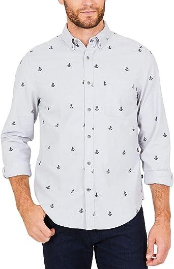 Nautica - Camisa para hombre con estampado de ancla y botones