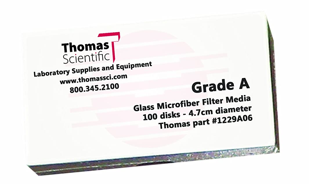 Thomas A1100 Borosilicate Glass Microfiber Filter, 1.5 Micron, Fast Flow, Grade A, 11cm Diameter (Pack of 100)