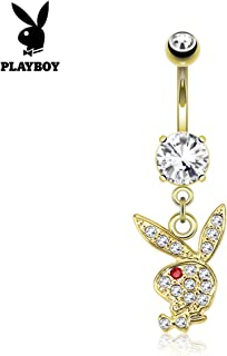 Paved Gems on Playboy Bunny Dangle 14kt Gold Plated Navel Belly Button Ring (Sold Ind.)