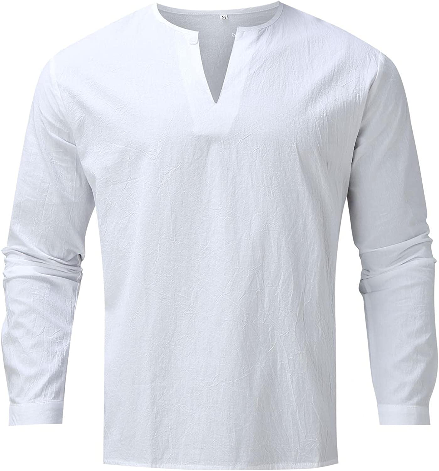 VEKDONE Men's Solid Color Cotton Linen Henley Shirt Long Sleeve V Neck Hippie Loose Fitting Casual Beach T Shirts