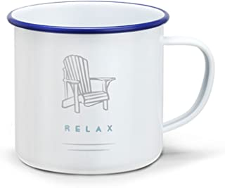 Relax Adirondack Chair Peaceful Blue On White 16 ounce Metal Enamelware Mug
