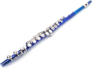 Cupronickel C 16-Key Closed Hole Concert Band Flute Blue - Quality Musical Instrument Accessory for All Levels, Flute Set