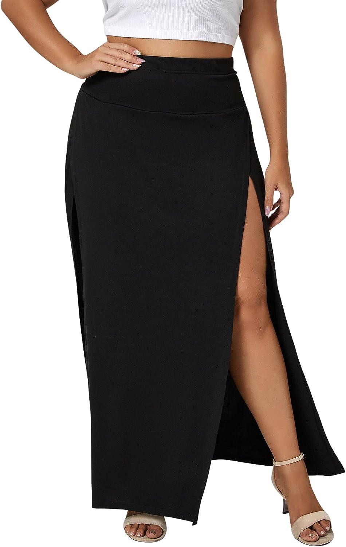 WDIRARA Women's Plus Size Split Side High Waist A-Line Casual Maxi Skirt