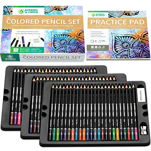 XL Colored Pencil Set W/ 72 Soft Core Coloring Pencils, 30 Page Sketch Pad, Vinyl Eraser & Sharpener For Drawing, Sketching, Shading, Layering, and Blending, Art Supplies for Adults and Teens