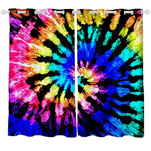 Feelyou Tie Dye Curtains for Bedroom Boho Psychedelic Swirl Girls Rainbow Pattern Curtain Hippie Trippy Window Drapes Bohemian Gypsy Curtains 42W x 63L Inches Set of 2 Panels Colorful
