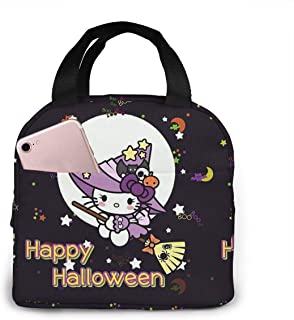 Lunch Bag Tote Happy Halloween Hello Kitty Lunchbox Insulated Lunch Cooler Box Meal Prep Containers For Woman Man Kids