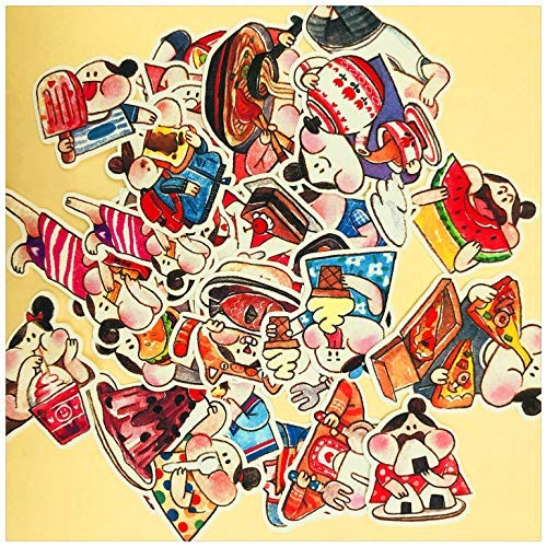 JZLMF Taza de agua, guitarra, decoración de nevera, conteo de mano, maleta, casco, pegatinas impermeables tienen 64 duplicados.