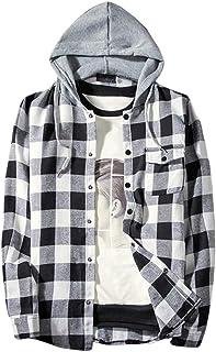 WanYangg Camicie A Quadri Uomo, Maschile Autunno Casual Camicia A Scacchi Manica Lunga Camicetta con Cappuccio con Tasche ...