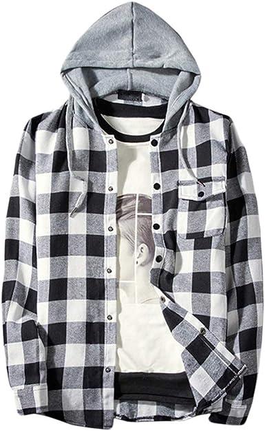 WanYangg Camisas De Cuadros Manga Larga para Hombre, Camisa A ...