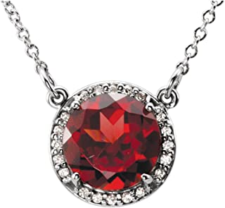 14k White Gold Mozambique Garnet & .05 CTW Diamond 16