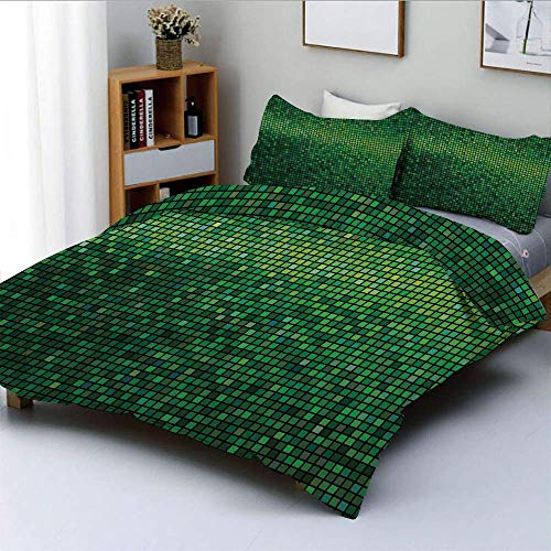 Duvet Cover Set,Abstract Lights Square Pixel Mosaic Design Geometric Technology Theme Digital Grid Print Decorative 3 Piece Bedding Set with 2 Pillow Sham,Green,Best Gift For Ki
