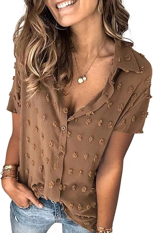 Long Sleeve Women's Button Down Shirt Casual V Neck Blouses Tops Loose Chiffon Blouse