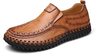 Gentleman Men Casual Shoes Leather Slip on Italian Loafers Breathable Light Genuine Leather Shoes Men