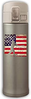 XQFwylms Vintage American Flag Baseball Unisex Vacuum Cup Stainless Steel Thermos Tumblers Thermos with Bounce Cover