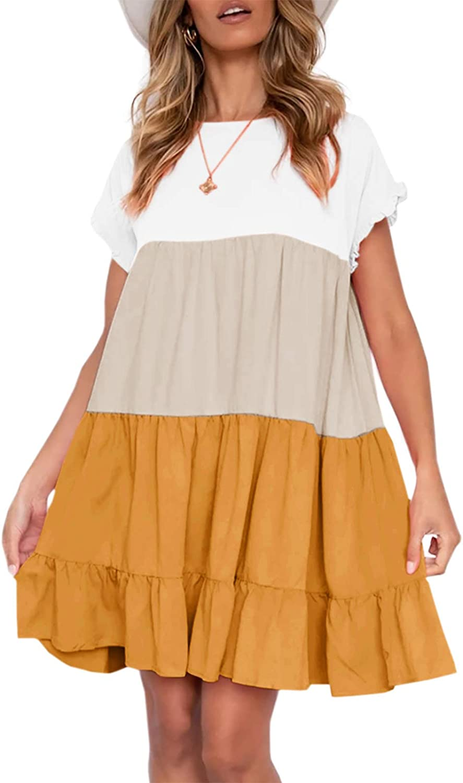 Looks Cute Women Summer Casual Ruffles Dress Color Block Short Sleeve Babydoll Loose Swing Flowy T-Shirt Dress