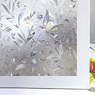 Bloss Window Film Privacy Window Films Decorative Glass Films Window Decals PVC Window Cling Film Tulip Anti-UV Static Cling Non Adhesive for Home Office,17.7 by 78.7 inches