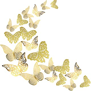 ADLKGG Butterfly Wall Decals Stickers Decorations, 3D Gold Hollow-Out 36 PCS Butterflies Art Decor for Party & Home