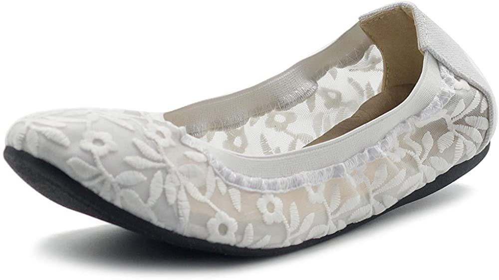 Ollio Women's Shoes SEAL limited product Floral Embroidery Now free shipping Lace On Comfort Slip Light