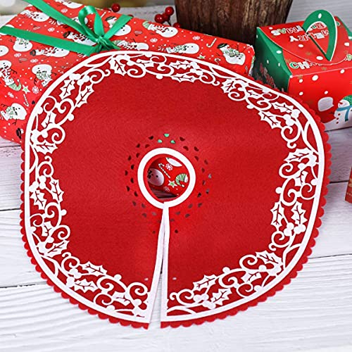 Fayme Falda de árbol de Navidad, 2 unidades, 12 pulgadas, con borde floral, para Nochevieja, fiesta de Navidad