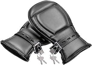 LKJCZ Los Guantes de Cuero Acolchado Guantes de puño Guantes Atractivo Adulto del Sexo de Las Esposas Perro Boxeo Hombres Palma Alternativa Juguetes Esponja PU,Negro