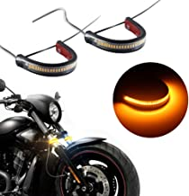Motorcycle Fork Amber LED Turn Signal Strip Lights Kit Super Bright for Harley Davidson Front Rear Turning Indicator Lights Universal Victory Motorbike Lamps Waterproof and Durable (2Pcs, 39mm-70mm)