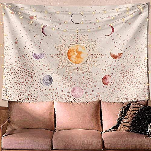 KHKJ Tapiz de Pared Estrellado Bohemio Luna Sol Mandala Indio Tapices para Colgar en la Pared Hippie Alfombra psicodélica Dormitorio Manta de Playa A1 95x73cm
